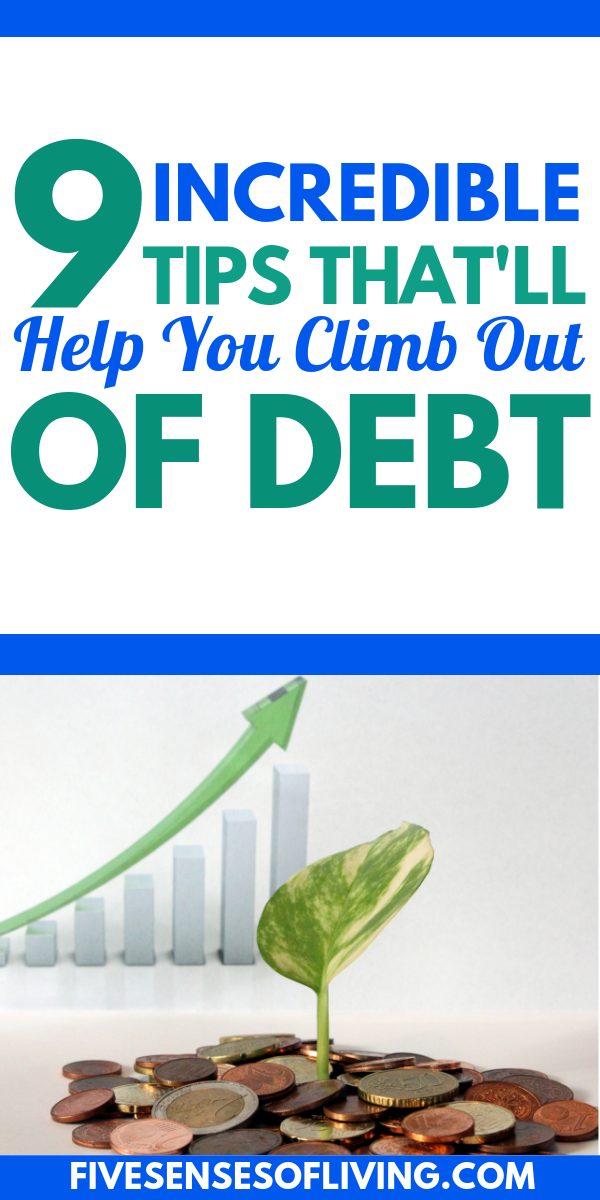 Debt Free! Dont let debt stand in your way of financial freedom.  Follow these 9 tips now to help you get out of debt for GOOD.  These are incredible and will change your life.    #debtfree #getoutofdebt #debt