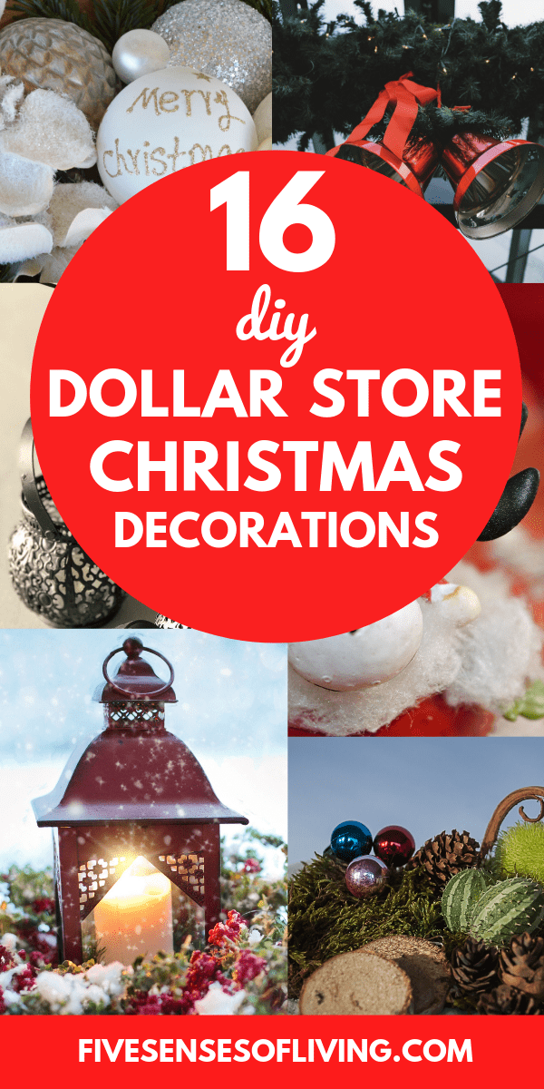 Make beautiful Christmas Decorations with these amazing DIY ideas that are cheap and frugal from the dollar store.  Decorations for Christmas and the holidays doesn't have to be expensive